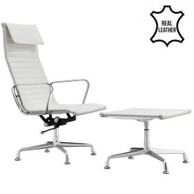 Design fauteuil + hocker 'Sevilla' - Wit - Echt leder