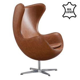 Egg Chair - Echt leder - Cognac